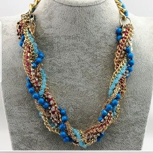 🔥sale🔥Pretty Blue Beads & Crystal Necklace